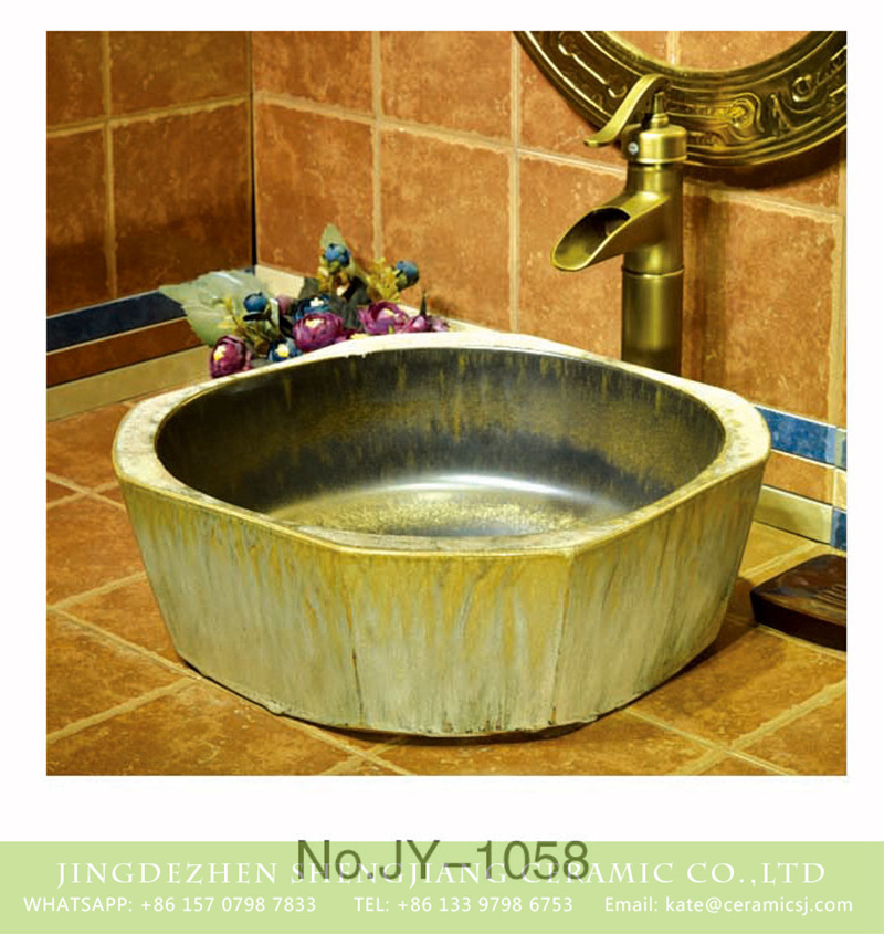 SJJY-1058-13仿古四方盆_13 Shengjiang factory direct wholesale art durable bathroom sink    SJJY-1058-13 - shengjiang  ceramic  factory   porcelain art hand basin wash sink