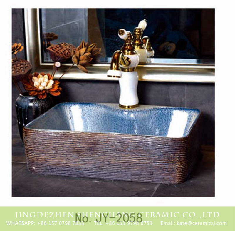 SJJY-1058-8有孔四方台盆_11 Chinese modern new style blue smooth wall durable art basin     SJJY-1058-8 - shengjiang  ceramic  factory   porcelain art hand basin wash sink