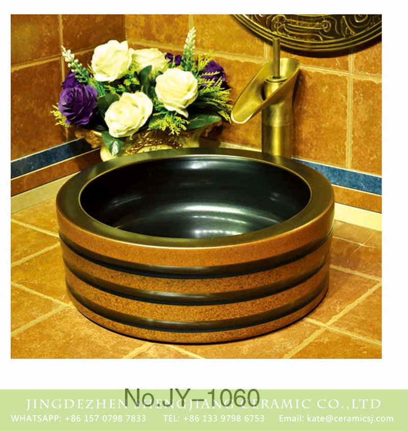SJJY-1060-13仿古四方盆_15 China art ceramic hand carved thick brown color edge sanitary ware    SJJY-1060-13 - shengjiang  ceramic  factory   porcelain art hand basin wash sink