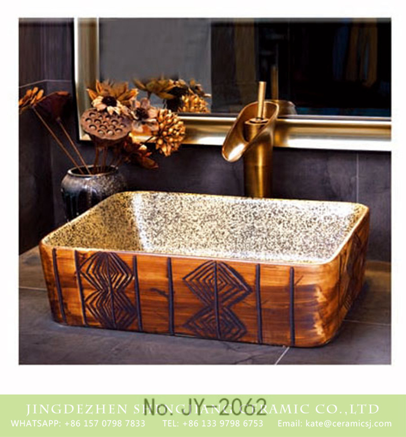 SJJY-1062-8有孔四方台盆_15 China traditional pure hand carved special design wash basin    SJJY-1062-8 - shengjiang  ceramic  factory   porcelain art hand basin wash sink