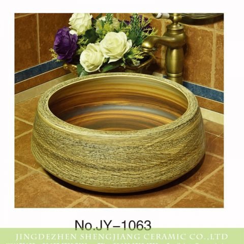 Shengjiang factory fancy pure hand ceramic vanity basin    SJJY-1063-14
