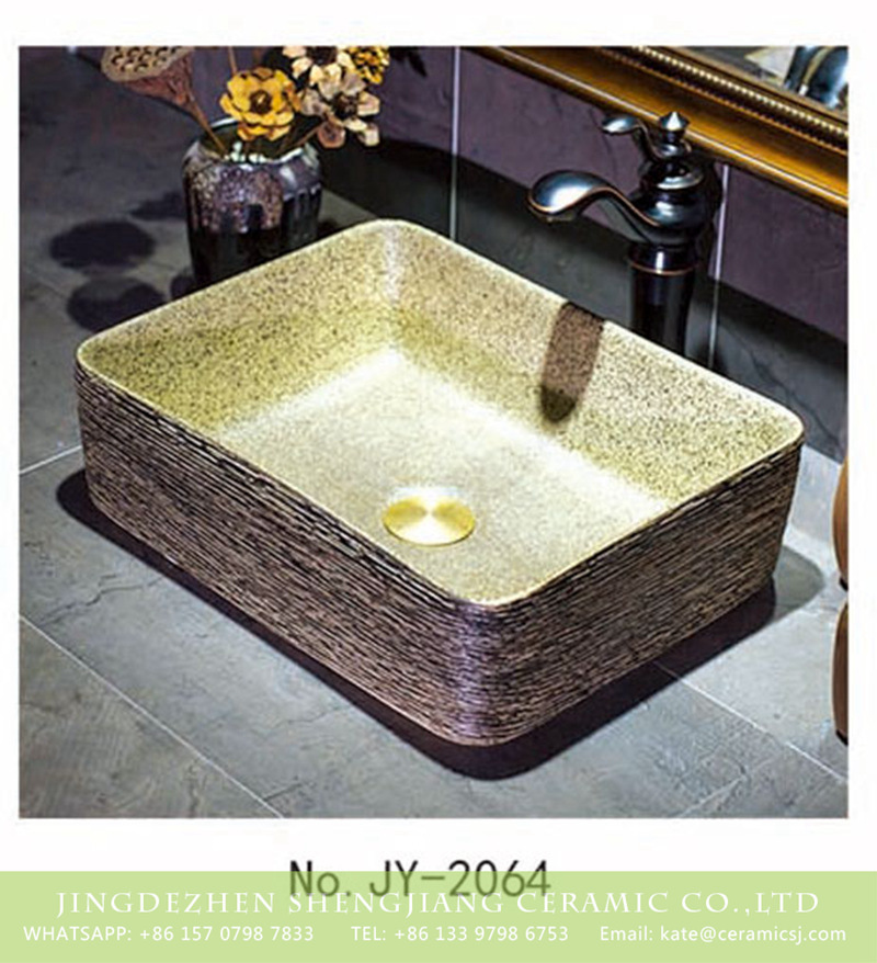 SJJY-1064-9有孔四方台盆_04 Jingdezhen wholesale elegant single hole ceramic square toilet basin    SJJY-1064-9 - shengjiang  ceramic  factory   porcelain art hand basin wash sink