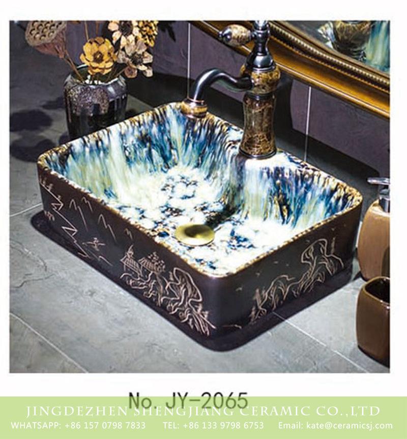 SJJY-1065-9有孔四方台盆_05 Chinese art luxury bathroom design single hole ceramic wash sink     SJJY-1065-9 - shengjiang  ceramic  factory   porcelain art hand basin wash sink