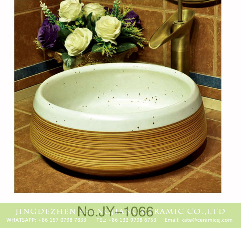 SJJY-1066-14仿古聚宝盆_09 Japanese style white and brown color wash hand basin    SJJY-1066-14 - shengjiang  ceramic  factory   porcelain art hand basin wash sink