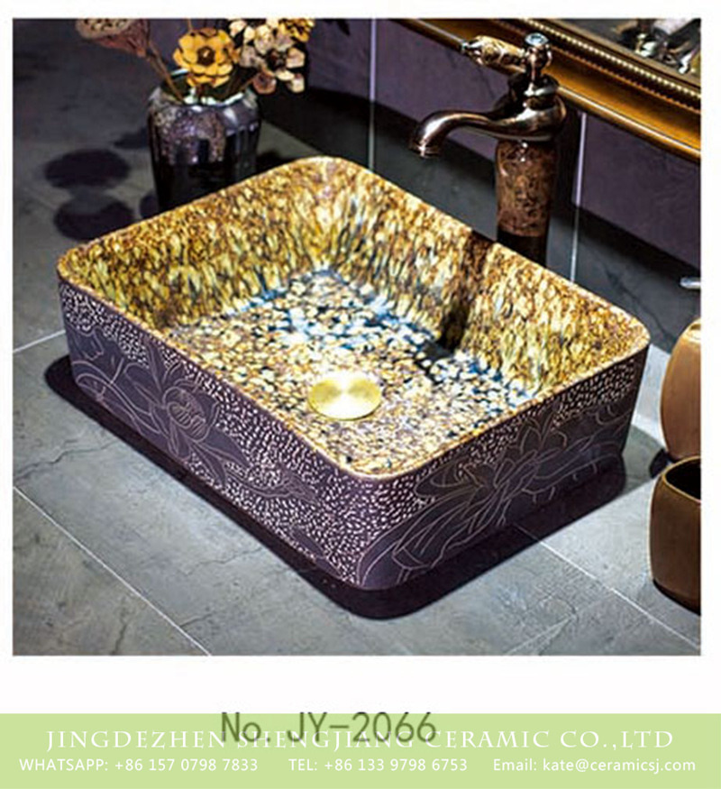 SJJY-1066-9有孔四方台盆_08 China hand painted retro luxury ceramic art basin     SJJY-1066-9 - shengjiang  ceramic  factory   porcelain art hand basin wash sink