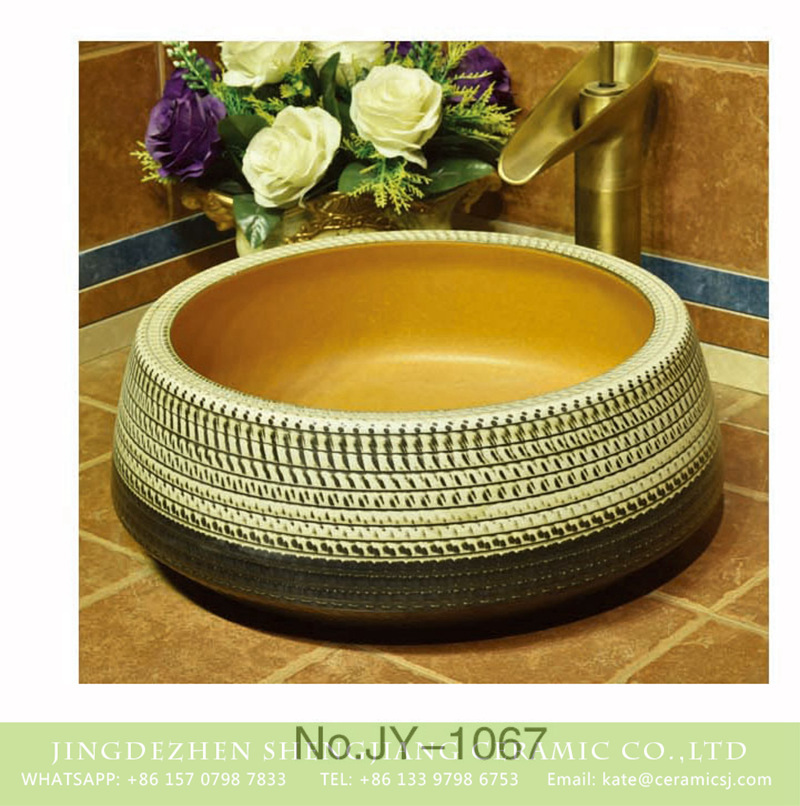 SJJY-1067-14仿古聚宝盆_10 Asian style pure hand carved art black and white color sanitary ware      SJJY-1067-14 - shengjiang  ceramic  factory   porcelain art hand basin wash sink