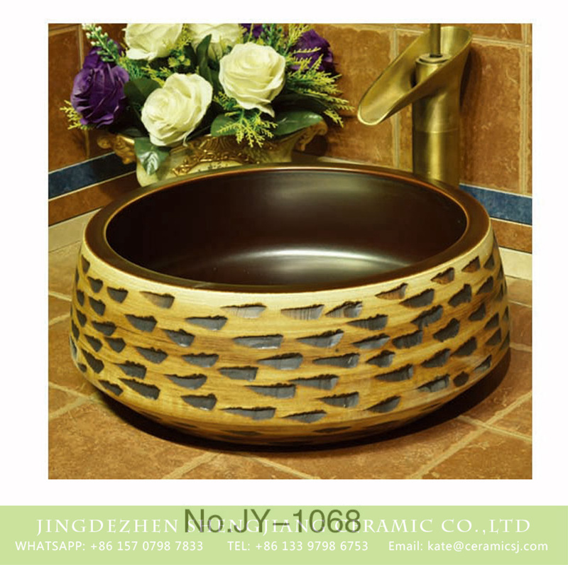 SJJY-1068-14仿古聚宝盆_11 Hot sale hand carved new product smooth dark color wall wash basin    SJJY-1068-14 - shengjiang  ceramic  factory   porcelain art hand basin wash sink