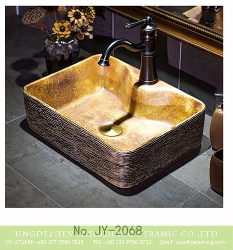 SJJY-1068-9有孔四方台盆_10 China traditional retro style art vanity basin     SJJY-1068-9 - shengjiang  ceramic  factory   porcelain art hand basin wash sink