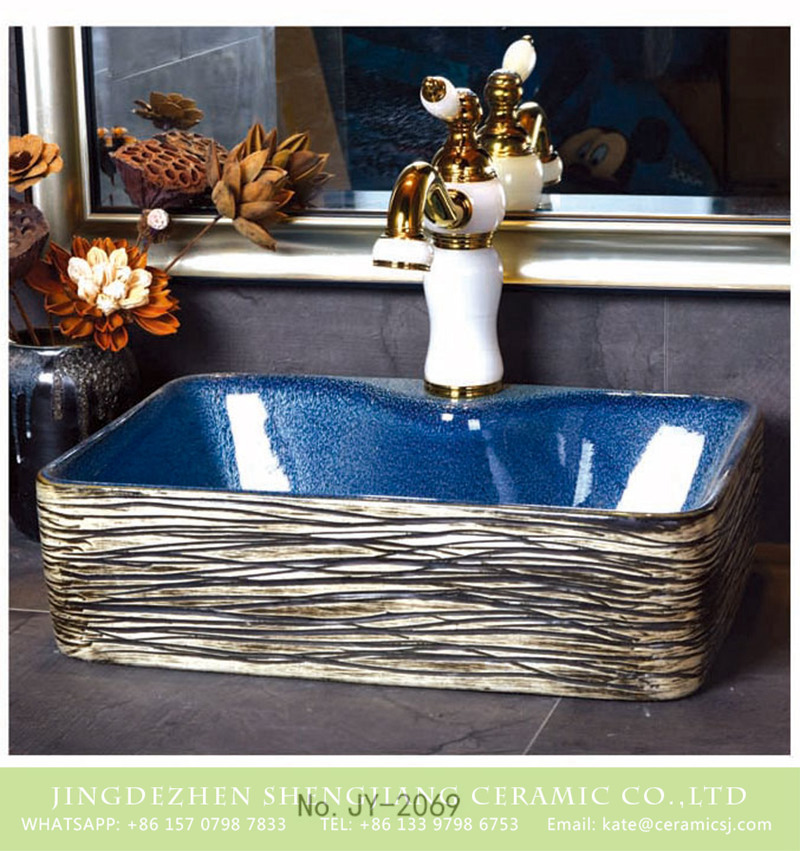 SJJY-1069-9有孔四方台盆_12 Shengjiang factory wholesale smooth blue color wall and hand painted special surface lavabo    SJJY-1069-9 - shengjiang  ceramic  factory   porcelain art hand basin wash sink