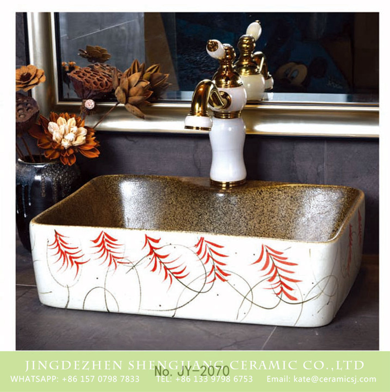 SJJY-1070-9有孔四方台盆_13 Shengjiang factory produce new brown wall and white surface with beautiful pattern design sink     SJJY-1070-9 - shengjiang  ceramic  factory   porcelain art hand basin wash sink