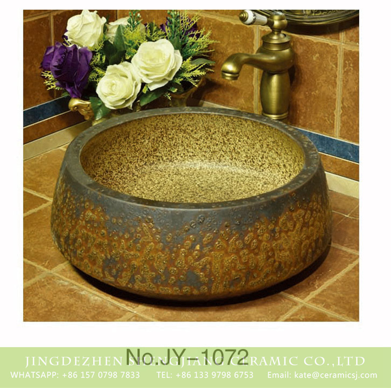 SJJY-1072-14仿古聚宝盆_15 China antique round ceramic uneven surface wash basin     SJJY-1072-14 - shengjiang  ceramic  factory   porcelain art hand basin wash sink
