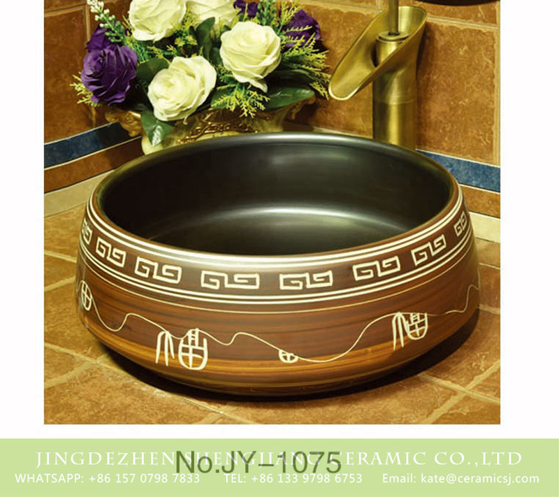 SJJY-1075-15仿古聚宝盆_07 China traditional hand painted art pattern surface sanitary ware    SJJY-1075-15 - shengjiang  ceramic  factory   porcelain art hand basin wash sink