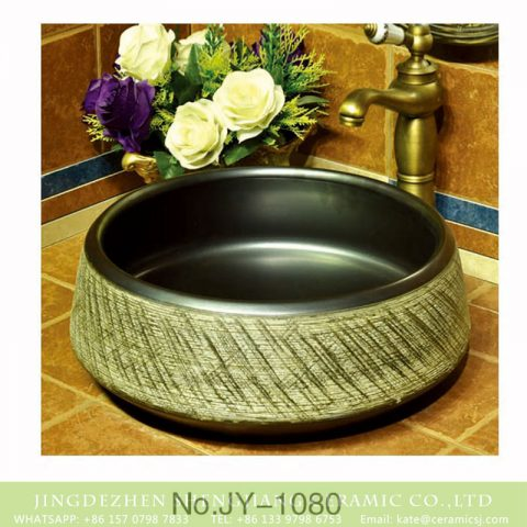Jingdezhen unique design black color wall durable art basin   SJJY-1080-15
