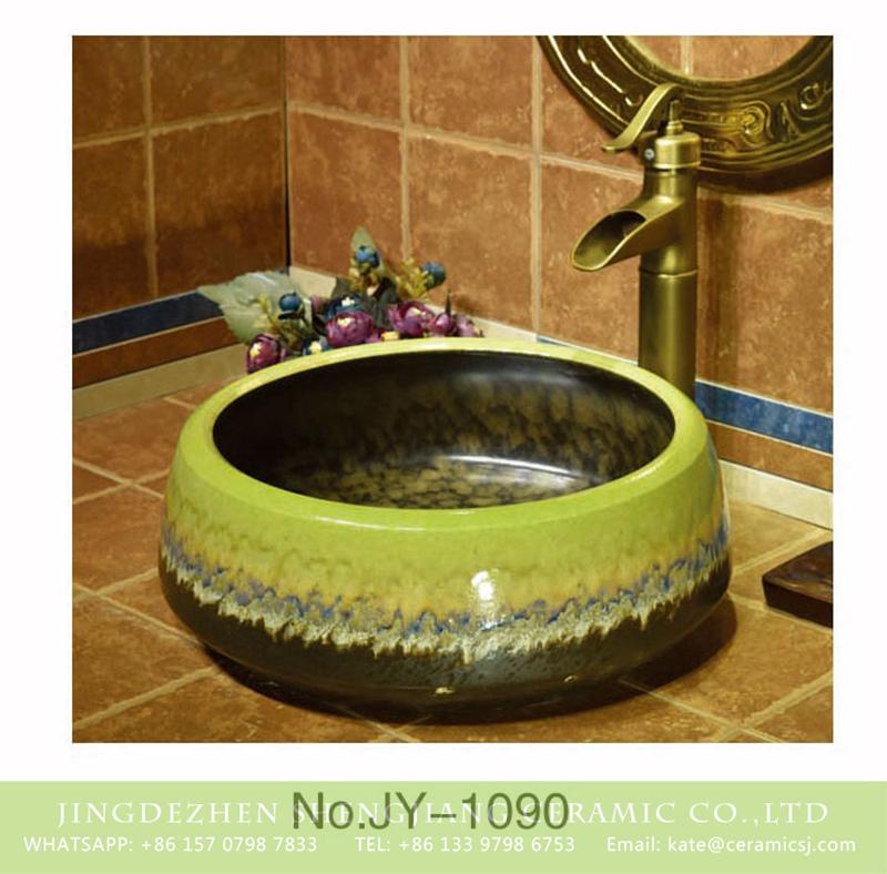 SJJY-1090-16仿古聚宝盆_11 Hand painted high gloss ceramic with colored glaze surface art basin    SJJY-1090-16 - shengjiang  ceramic  factory   porcelain art hand basin wash sink
