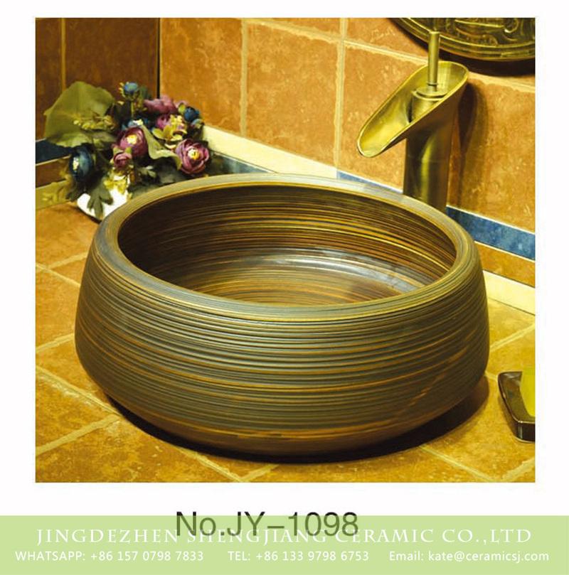 SJJY-1098-17仿古聚宝盆_04 Hand carved dark color with stripes art basin    SJJY-1098-17 - shengjiang  ceramic  factory   porcelain art hand basin wash sink
