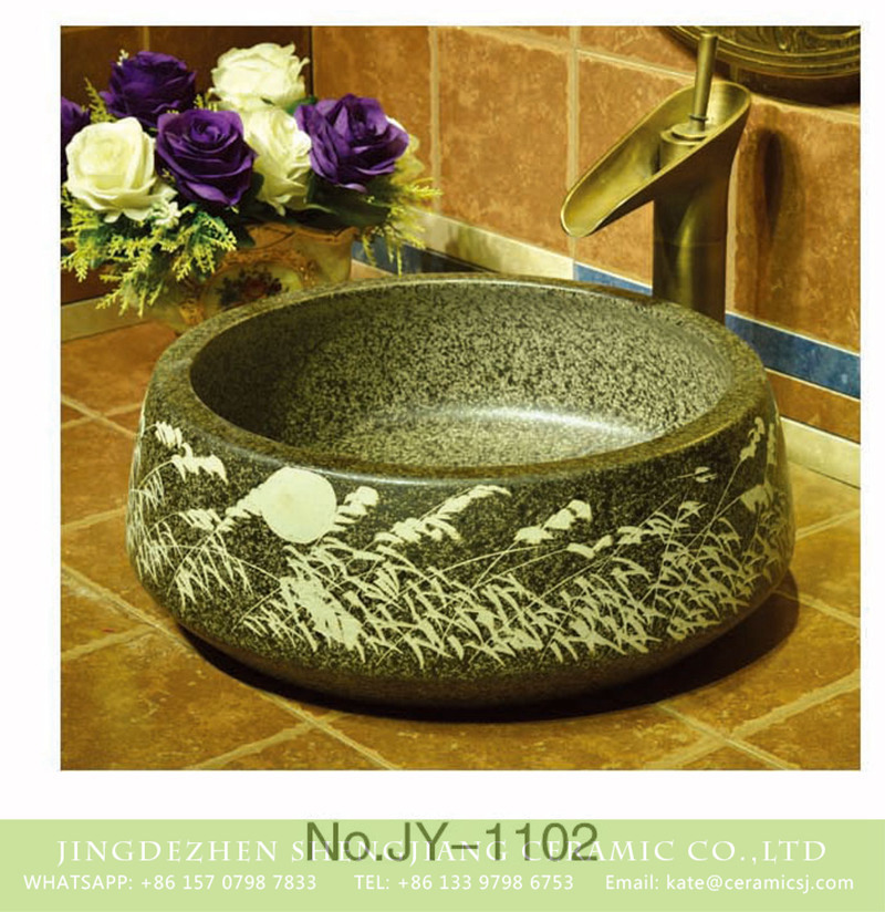 SJJY-1102-17仿古聚宝盆_09 Made in China imitating marble ceramic with hand carved beautiful pattern sink   SJJY-1102-17 - shengjiang  ceramic  factory   porcelain art hand basin wash sink