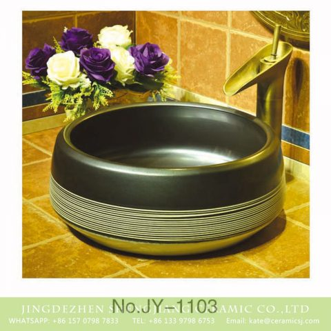 Jingdezhen factory wholesale high gloss ceramic with hand painted white stripes surface sanitary ware   SJJY-1103-17
