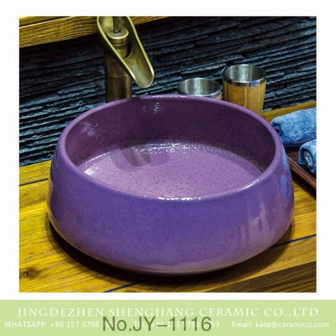 China factory produce durable ceramic violet color beautiful wash hand basin    SJJY-1116-18