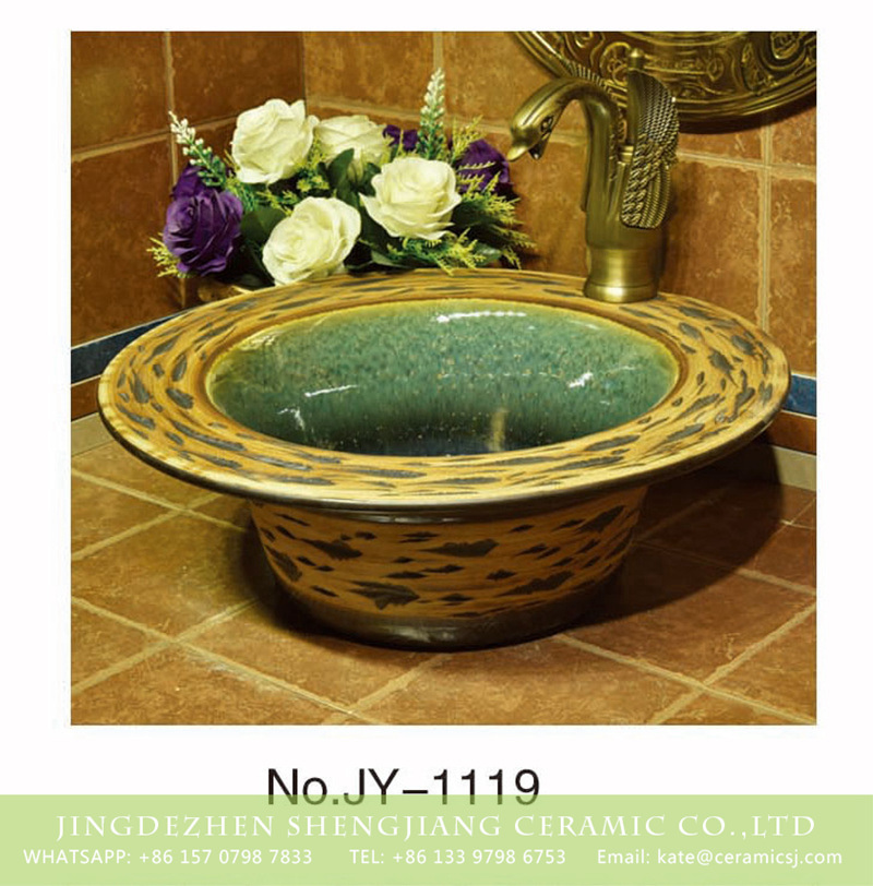 SJJY-1119-20仿古加厚草帽_04 Shengjiang factory direct high gloss ceramic hand painted beautiful pattern wash sink     SJJY-1119-20 - shengjiang  ceramic  factory   porcelain art hand basin wash sink