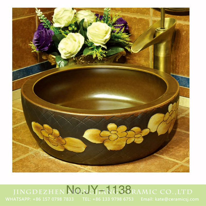 SJJY-1138-21仿古腰鼓盆_13 Antique high quality ceramic with hand painted flowers design sanitary ware    SJJY-1138-21 - shengjiang  ceramic  factory   porcelain art hand basin wash sink