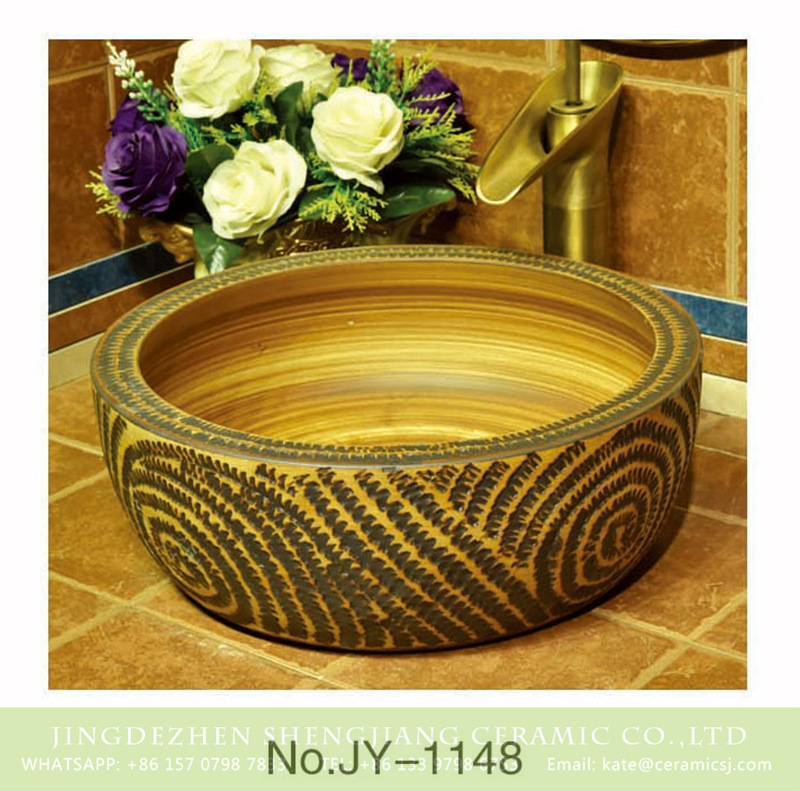 SJJY-1148-22仿古腰鼓盆_10 Jingxi Jingdezhen hand carved ceramic wood color sanitary ware    SJJY-1148-22 - shengjiang  ceramic  factory   porcelain art hand basin wash sink