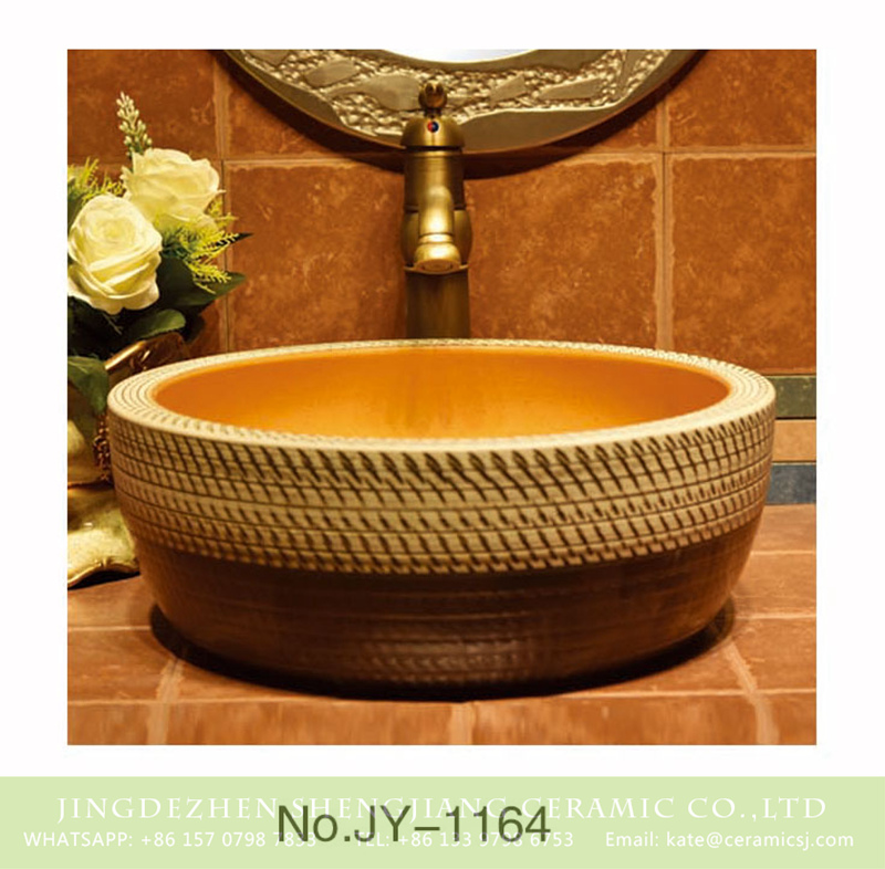 SJJY-1164-23仿古腰鼓盆_14 Pure hand carved knife stroke brown and wood color sinks    SJJY-1164-23 - shengjiang  ceramic  factory   porcelain art hand basin wash sink