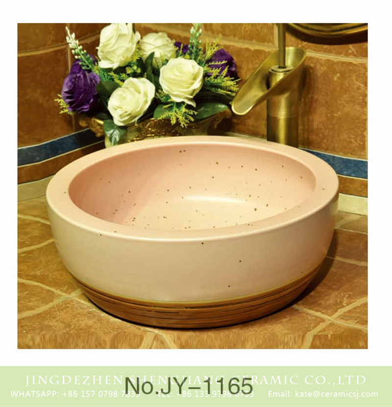 SJJY-1165-23仿古腰鼓盆_15 Popular sale item plain color and brown bottom ceramic with black dots thicken sinks    SJJY-1165-23 - shengjiang  ceramic  factory   porcelain art hand basin wash sink