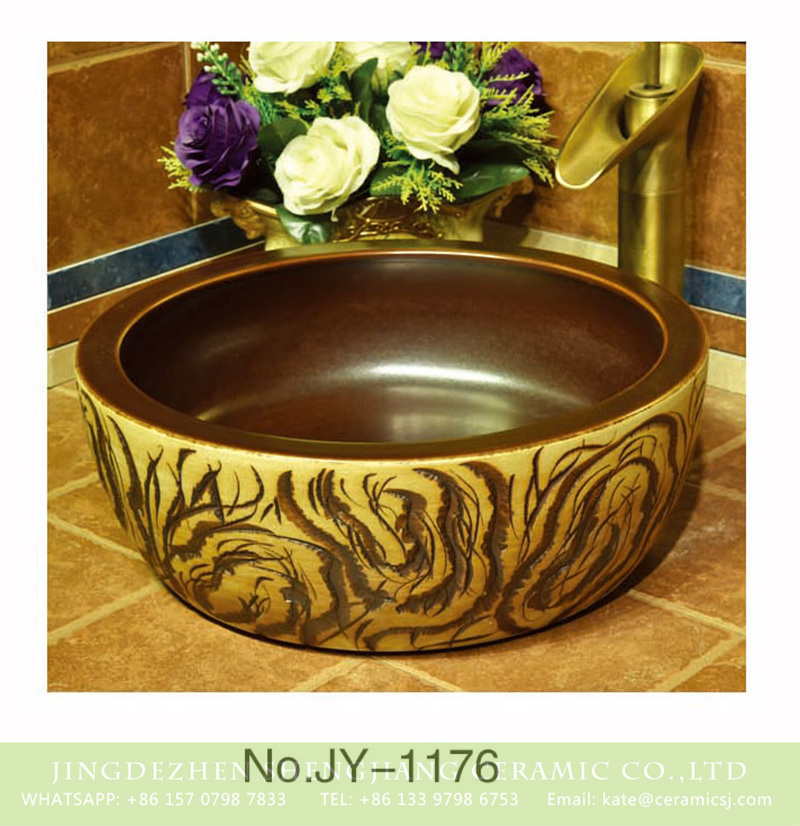 SJJY-1176-24仿古腰鼓盆_14 Popular sale item Shengjiang factory brown color inside and hand carved special pattern outside lavabo    SJJY-1176-24 - shengjiang  ceramic  factory   porcelain art hand basin wash sink