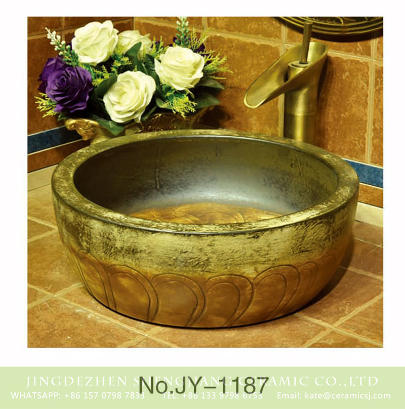 SJJY-1187-25仿古腰鼓盆_13 China antique style round ceramic durable wash hand basin    SJJY-1187-25 - shengjiang  ceramic  factory   porcelain art hand basin wash sink