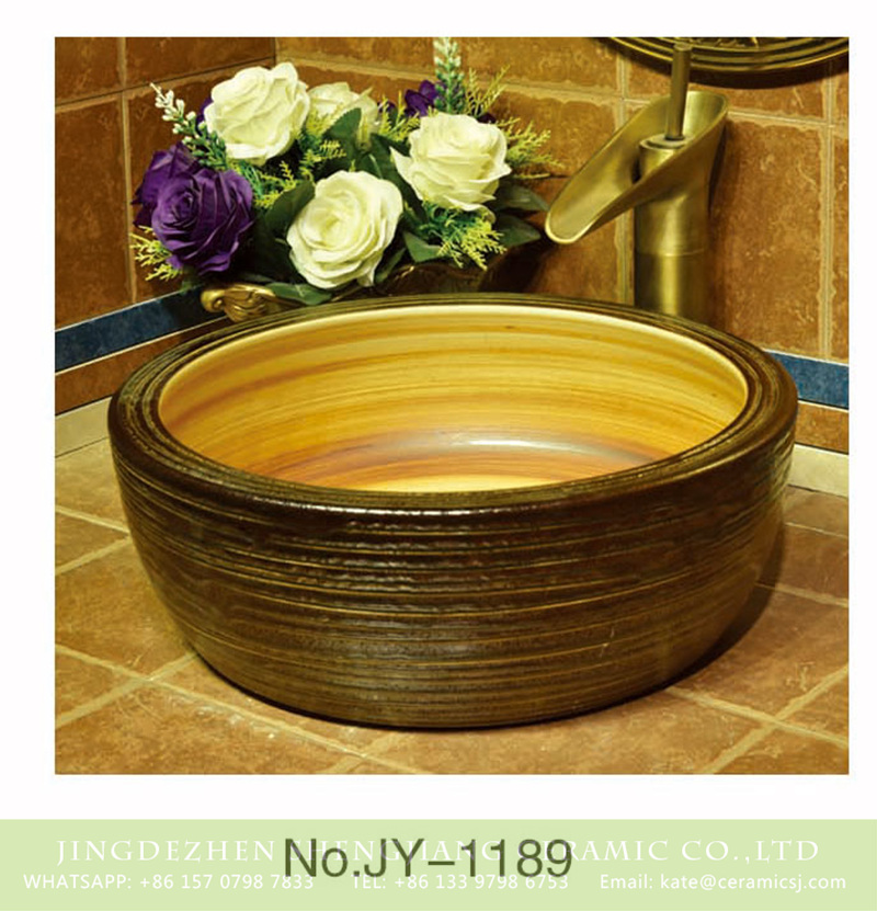 SJJY-1189-25仿古腰鼓盆_15 Factory cheap price wood color inside thicken wash basin    SJJY-1189-25 - shengjiang  ceramic  factory   porcelain art hand basin wash sink