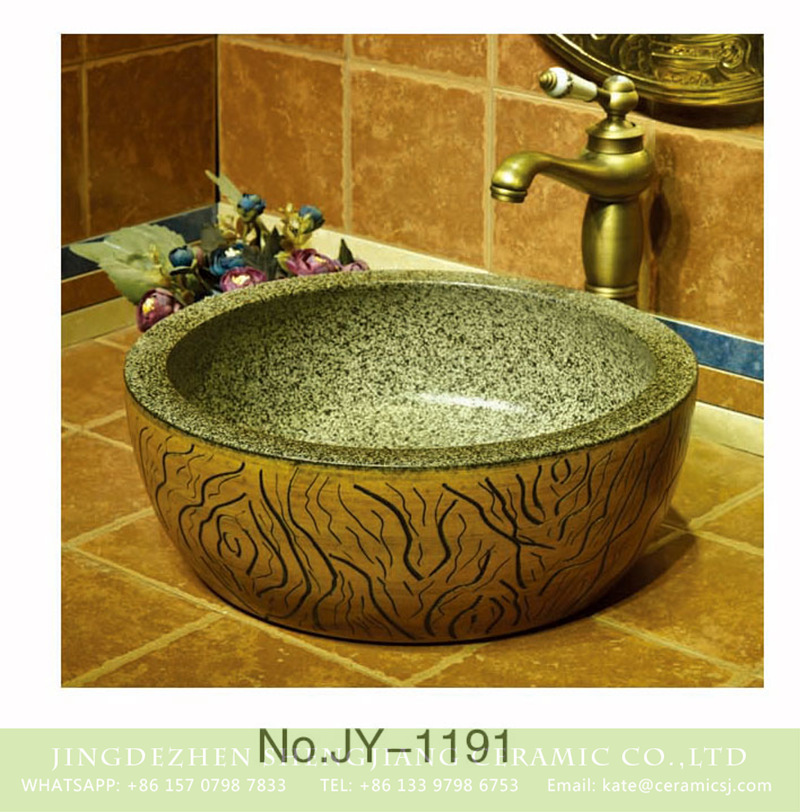 SJJY-1191-27仿古腰鼓盆_04 Hand carved imitating marble ceramic sink    SJJY-1191-27 - shengjiang  ceramic  factory   porcelain art hand basin wash sink