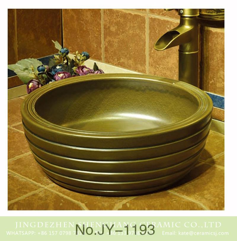 SJJY-1193-27仿古腰鼓盆_07 Made in China pure hand craft dark color sanitary ware    SJJY-1193-27 - shengjiang  ceramic  factory   porcelain art hand basin wash sink