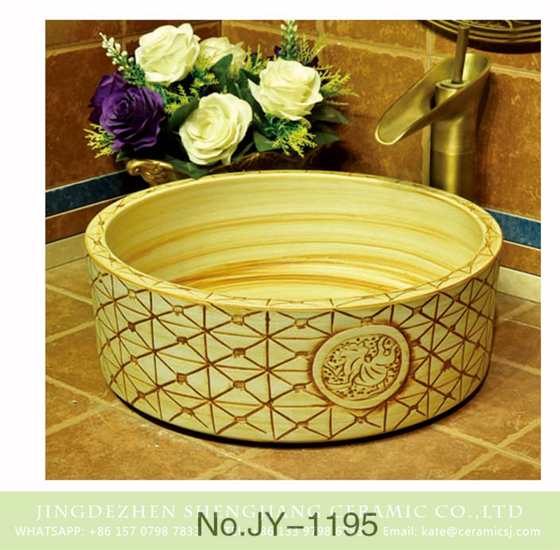 SJJY-1195-27仿古腰鼓盆_09 Shengjiang factory direct wood color ceramic and hand carved unique pattern surface wash sink    SJJY-1195-27 - shengjiang  ceramic  factory   porcelain art hand basin wash sink
