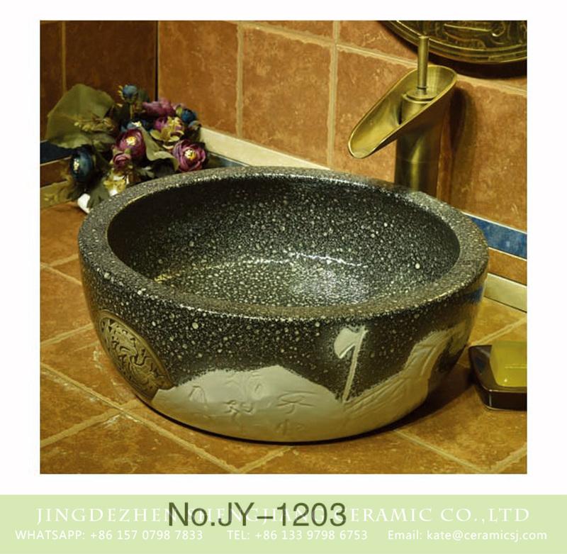 SJJY-1203-28仿古腰鼓盆_04 China pure hand craft antique durable porcelain with unique design wash basin    SJJY-1203-28 - shengjiang  ceramic  factory   porcelain art hand basin wash sink