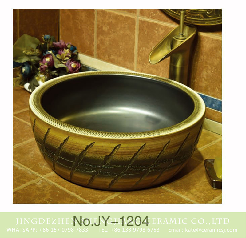 SJJY-1204-28仿古腰鼓盆_05 Jingdezhen antique ceramic carved knife stroke surface and matte black color inside lavabo     SJJY-1204-28 - shengjiang  ceramic  factory   porcelain art hand basin wash sink