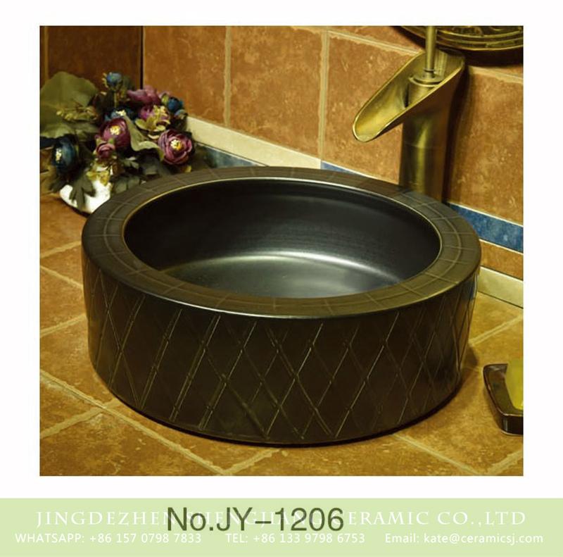 SJJY-1206-28仿古腰鼓盆_08 Popular sale item black plain color porcelain andhand carved diamond pattern surface sinks    SJJY-1206-28 - shengjiang  ceramic  factory   porcelain art hand basin wash sink