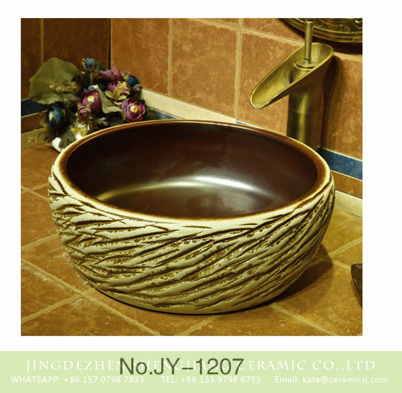 SJJY-1207-28仿古腰鼓盆_09-1 Large bulk sale hand carved knife stroke surface and brown color inside vanity basin    SJJY-1207-28 - shengjiang  ceramic  factory   porcelain art hand basin wash sink