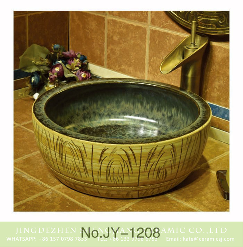 SJJY-1208-28仿古腰鼓盆_10 Hot sale color glazed inside and hand carved wood color surface sanitary ware     SJJY-1208-28 - shengjiang  ceramic  factory   porcelain art hand basin wash sink