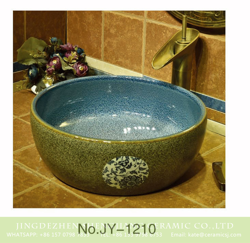 SJJY-1210-28仿古腰鼓盆_12 China online sale blue color smooth ceramic inside and marble with flower pattern surface wash sink    SJJY-1210-28 - shengjiang  ceramic  factory   porcelain art hand basin wash sink