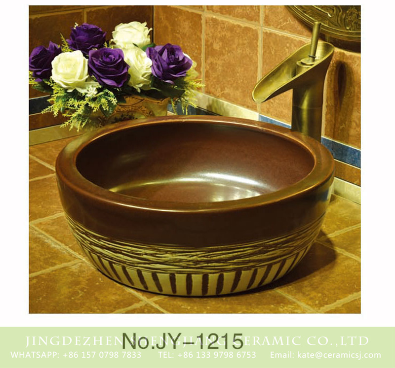 SJJY-1215-29仿古腰鼓盆_04 Shengjiang factory produce brown color and hand carved special pattern bottom durable sink    SJJY-1215-29 - shengjiang  ceramic  factory   porcelain art hand basin wash sink