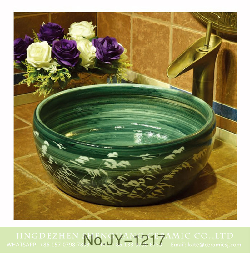 SJJY-1217-29仿古腰鼓盆_07 Shengjiang factory produce art green glazed porcelain with reed pattern wash hand basin    SJJY-1217-29 - shengjiang  ceramic  factory   porcelain art hand basin wash sink