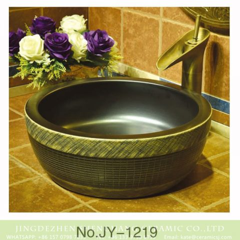 Asia style matte black ceramic and pure hand craft check pattern surface toilet basin    SJJY-1219-29