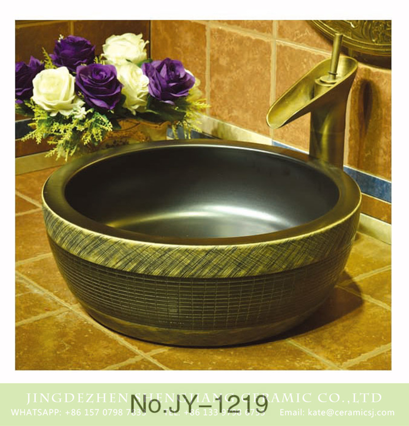 SJJY-1219-29仿古腰鼓盆_09 Asia style matte black ceramic and pure hand craft check pattern surface toilet basin    SJJY-1219-29 - shengjiang  ceramic  factory   porcelain art hand basin wash sink