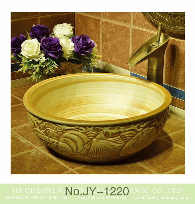 SJJY-1220-29仿古腰鼓盆_10 Shengjiang factory produce high quality wood color ceramic with hand craft exquisite pattern wash sink    SJJY-1220-29 - shengjiang  ceramic  factory   porcelain art hand basin wash sink