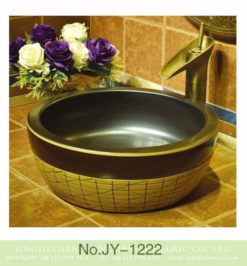 SJJY-1222-29仿古腰鼓盆_12 Jingdezhen wholesale matte black color inside and regular pattern surface sanitary ware    SJJY-1222-29 - shengjiang  ceramic  factory   porcelain art hand basin wash sink
