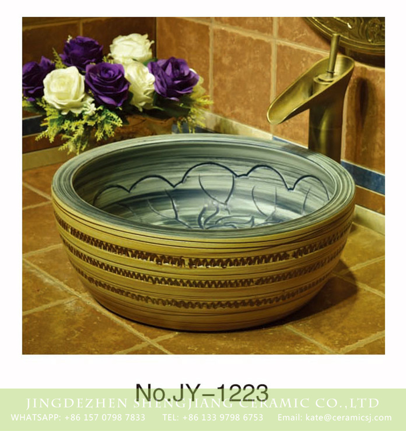 SJJY-1223-29仿古腰鼓盆_13 Factory outlet hand painted art ceramic round wash basin    SJJY-1223-29 - shengjiang  ceramic  factory   porcelain art hand basin wash sink