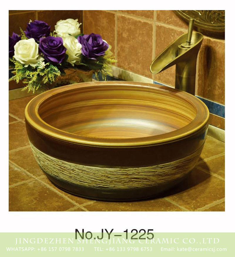 SJJY-1225-29仿古腰鼓盆_15 Shengjiang factory antique series wood color wall and easy clean wash hand basin    SJJY-1225-29 - shengjiang  ceramic  factory   porcelain art hand basin wash sink