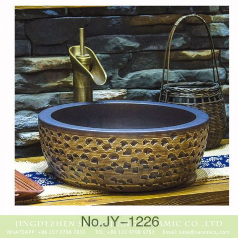 European style porcelain hand carved irregular pattern surface toilet basin    SJJY-1226-30