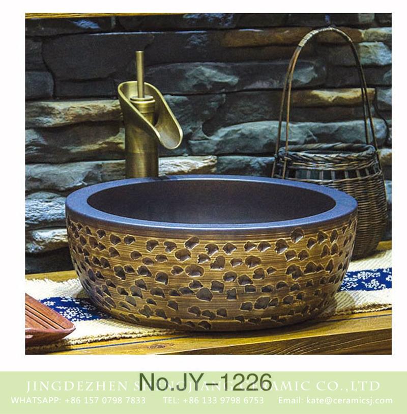 SJJY-1226-30仿古腰鼓盆_03 European style porcelain hand carved irregular pattern surface toilet basin    SJJY-1226-30 - shengjiang  ceramic  factory   porcelain art hand basin wash sink