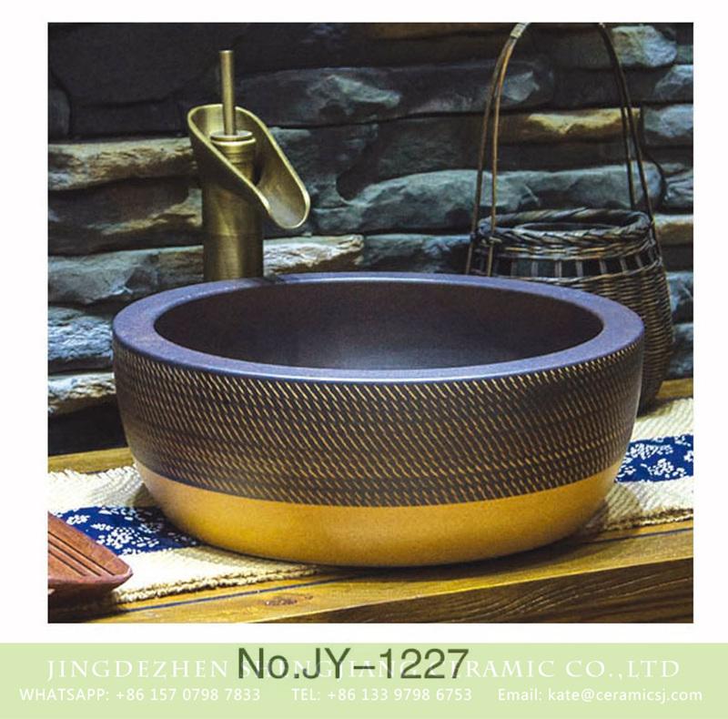 SJJY-1227-30仿古腰鼓盆_04 Asia online sale grind arenaceous dark color high quality wash sink    SJJY-1227-30 - shengjiang  ceramic  factory   porcelain art hand basin wash sink